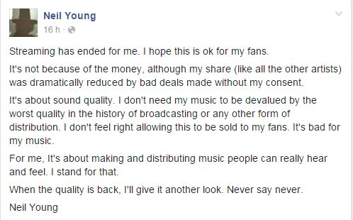 Neil Young fb status
